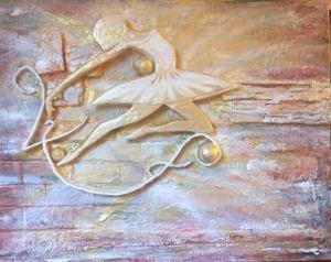 La ballerina   Polimaterico in rilievo su tela 80 x 120
