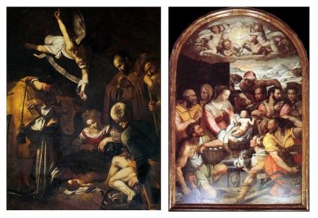 Natività del Caravaggio e Adorazione di pastori di Alessandro Allori